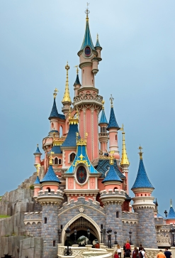 MARNE LA VALLEE FRANCE - JUNE 10: Sleeping Beauty Castle in Disneyland park on June 10 2014 in Marne La Vallee France. Disneyland Paris one of Europe's most popular attraction.